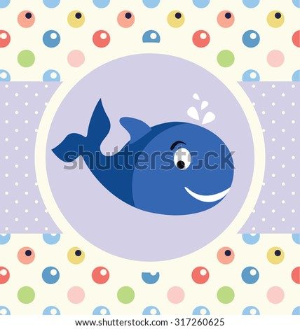 baby shower card design with whale - stock vector