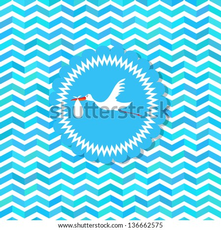 Baby shower card, For baby boy - stock vector