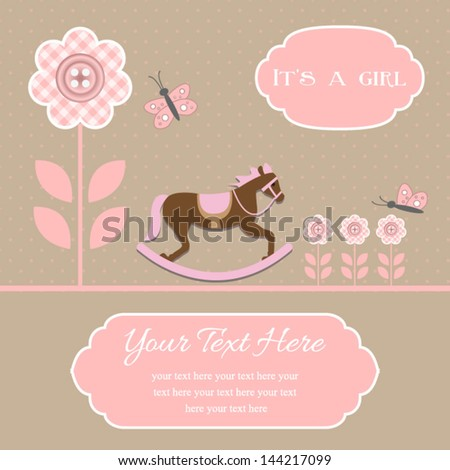 baby shower card for baby girl, button flowers with rocking horse.Vector eps10 , illustration.