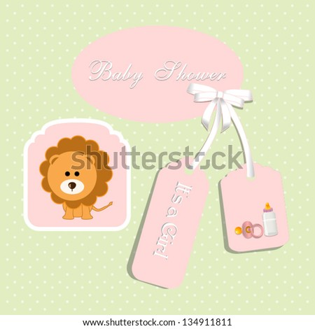 baby shower card, for baby girl,with lion and light green polka dot background.Vector eps10, illustration.