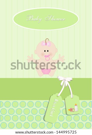 baby shower card,for baby girl, with newborn baby.Vector eps10, illustration.