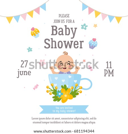 Baby Shower Card. Illustration With Baby In A Cup. Invitation Template For  Kids Party