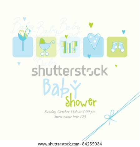 Baby Shower Invitation Template Cute Vector Stock Vector 77309608