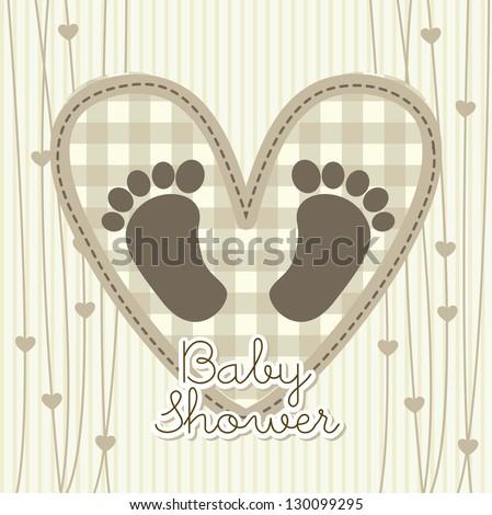 baby shower card over beige background. vector illustration - stock vector