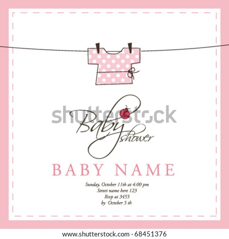 baby shower card template stock vector