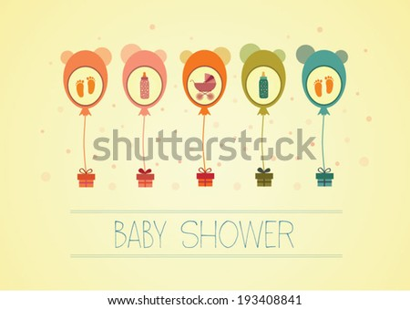 Baby shower card/vector illustration - stock vector