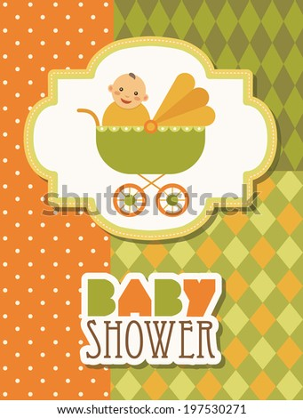 baby shower card. vector illustration - stock vector