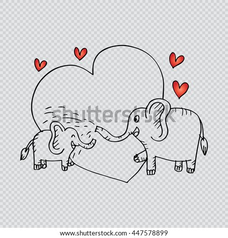 Baby shower card with baby elephant and his mother. Sketchy style. - stock vector