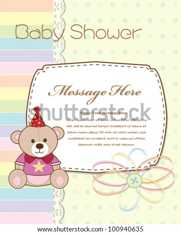 Baby shower card with cute bear - stock vector