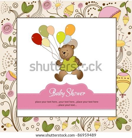 baby shower card with cute teddy bear - stock vector