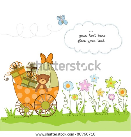 baby shower card with flowers - stock vector