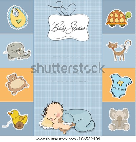 baby shower card with little baby boy - stock vector