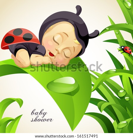Baby shower card with newborn child dressed as ladybug - stock vector