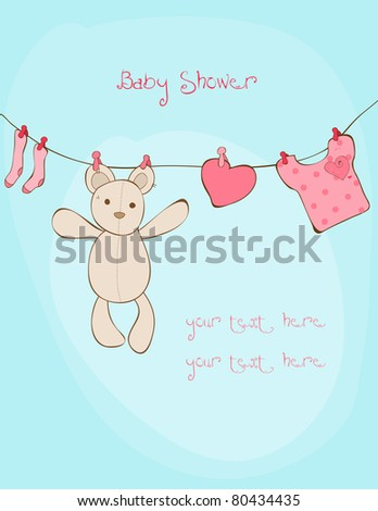 Baby Shower Card with place for your text in vector - stock vector