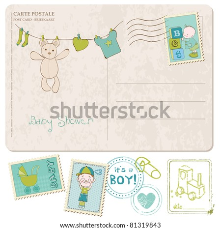 Baby Shower Card with set of stamps - stock vector