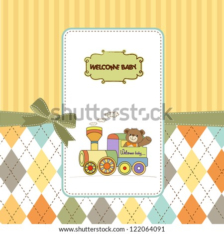 baby shower card with teddy bear and train toy - stock vector