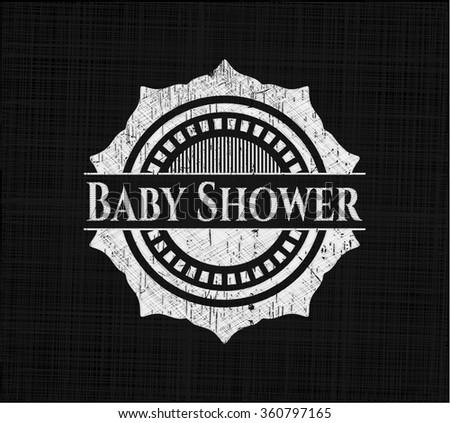 Baby Shower chalk emblem written on a blackboard - stock vector