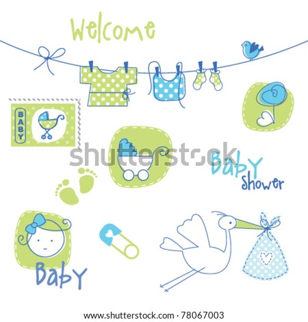 baby shower design elements stock vector