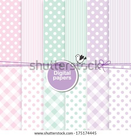 baby shower design elements - backgrounds for cards, scrapbook, album, invitation,  - stock vector