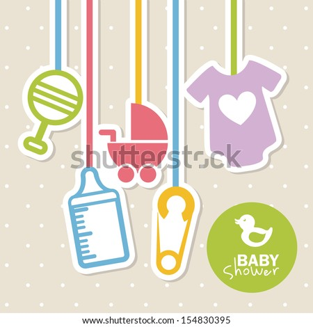 baby shower design over dotted background vector illustration stock