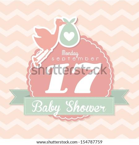 baby shower design over pink background vector illustration - stock vector