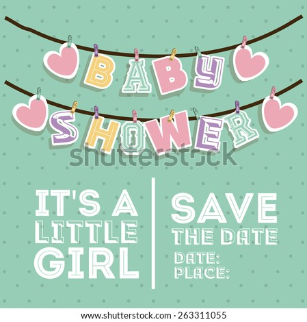 Baby Shower design over pointed background, vector illustration - stock vector