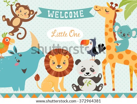 Baby shower design with cute jungle animals. Vector is cropped with Clipping Mask. - stock vector