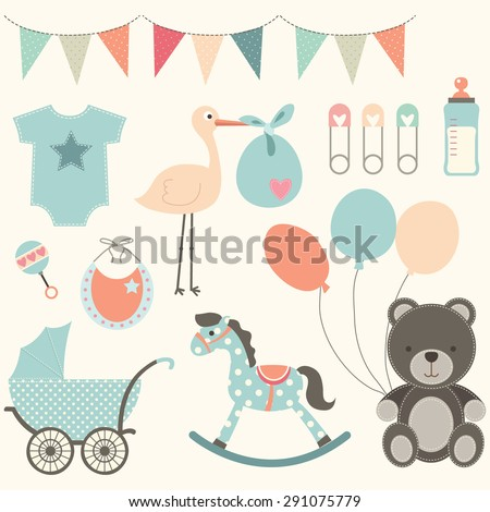 Baby Shower Elements - stock vector