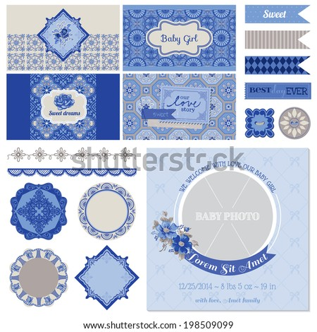 Baby Shower Flower Party Set - for Scrapbook, Party Decoration, Baby Shower - in vector - stock vector
