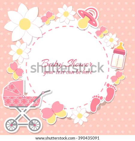 Baby shower girl, invitation card. Place for text.  Greeting cards. Vector illustration.  - stock vector