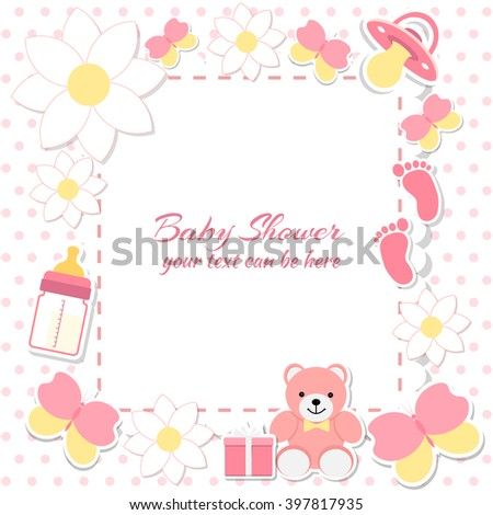 Baby shower girl, invitation card. Place for text.  Greeting cards. Vector illustration. Teddy bear with a gift box, pink background, flowers. - stock vector