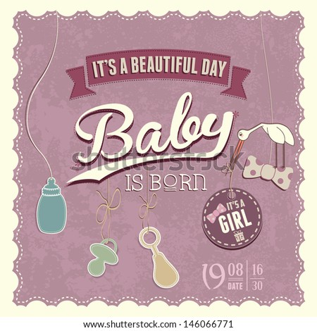 Baby Shower Girl Invitation for beautiful day - stock vector