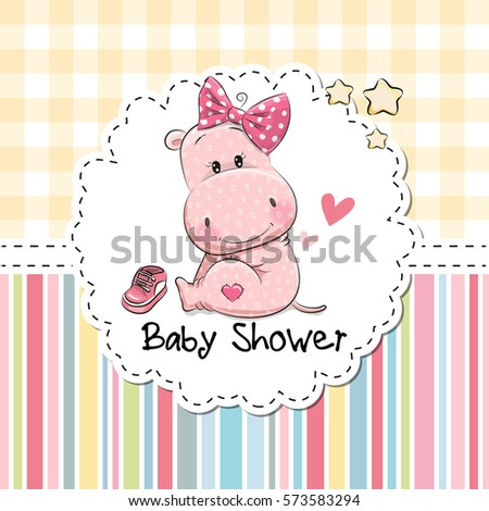 Baby shower greeting card cute cartoon stock vector 573583294 baby shower greeting card with cute cartoon hippo girl m4hsunfo