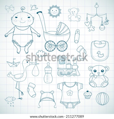 Baby shower. Hand drawn sketches. - stock vector