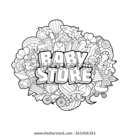 Baby Shower - Hand Lettering and Doodles Elements Sketch. Vector illustration - stock vector