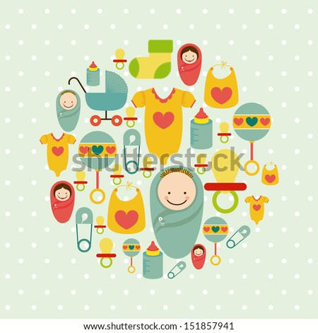 baby shower icons over dotted background vector illustration - stock vector