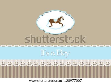 Baby Shower Invitation Baby Boy Rocking Stock Vector 128977007