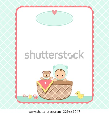 Baby shower invitation background baby basket stock vector royalty baby shower invitation background with baby basket and toys filmwisefo