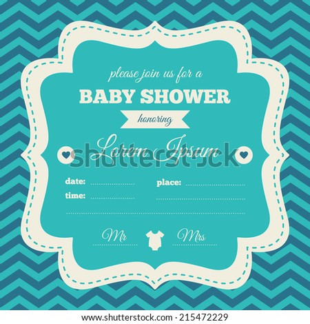 Baby shower invitation. Blue, cream and azure colors. Vintage frame on a chevron background