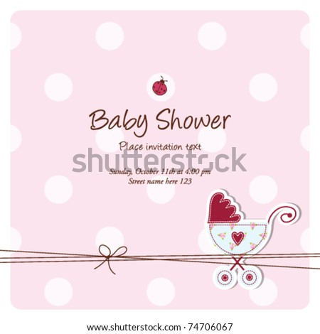 Baby shower invitation card - stock vector