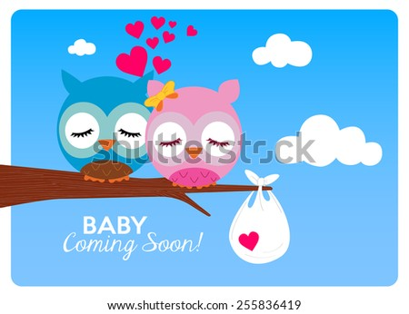 baby shower invitation card, a family waiting for a baby - stock vector