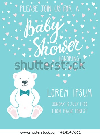 """Baby shower invitation card. Cute childish background with polar bear and beautiful hand written text """"Baby shower"""". Invitation card template for baby boy / little man - stock vector"""