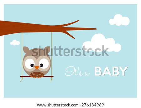 baby shower invitation card, cute owl swinging on a swing announces the arrival of a baby - stock vector