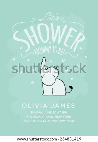 Baby Shower Invitation Card Design with Sitting Elephant - stock vector