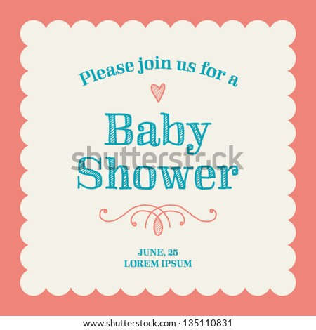 Baby Shower Invitation Card Editable With Type, Font, Ornaments, Heart And  Frame Border