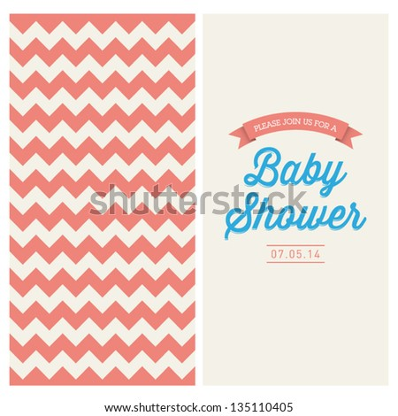 Baby shower invitation card editable with vintage retro background chevron, type, font, and ribbons - stock vector