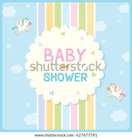 Baby shower invitation card newborn design stock vector royalty baby shower invitation card for newborn design with rainbow and blue sky background decorated with cute stopboris Choice Image
