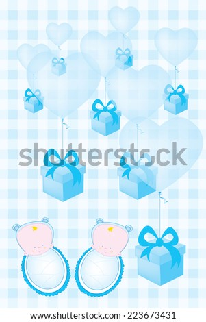 baby shower invitation card for twin babies vector illustration/baby shower invitation card for twin babies boys - stock vector