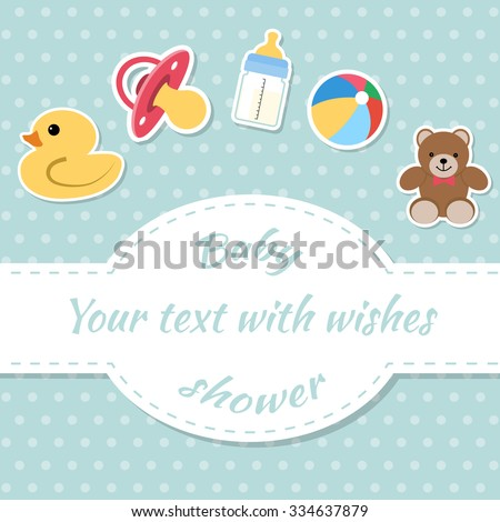 Baby shower invitation card. Place for text.  Greeting cards. - stock vector