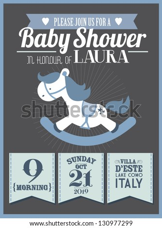 baby shower invitation card template vector/illustration - stock vector